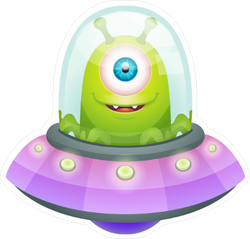 Cartoon Alien In UFO Sticker