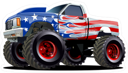 Cartoon American Monster Truck Sticker