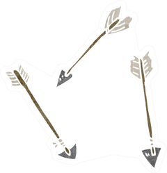 Cartoon Arrows In Watercolor Sticker