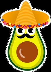 Cartoon Avocado With Mustache And Sombrero Sticker