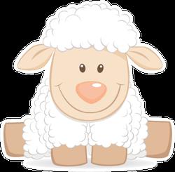 Cartoon Baby Sheep Funny Illustration Sticker