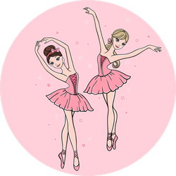 Cartoon Ballerinas In Pink Tutus Dance Stickers