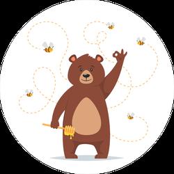 Cartoon Bear Eating Sweet Honey Sticker