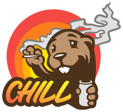 Cartoon beaver Chill Sticker