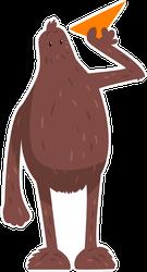 Cartoon Bigfoot With Airplane Sticker