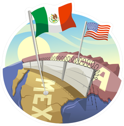 Cartoon Border Wall Between Mexico And The US Sticker