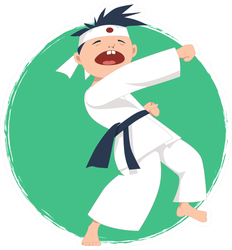 Cartoon Boy Doing Karate Sticker