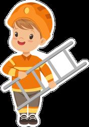 Cartoon Boy Firefighter Sticker