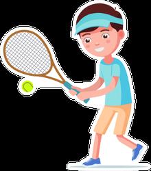 Cartoon Boy Playing Tennis Sticker