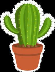 Cartoon Cactus In A Pot Sticker