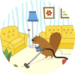 Cartoon Character Beaver Vacuums The House Sticker