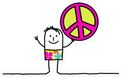 Cartoon Character Holding Peace Sign Sticker