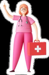 Cartoon Character Woman Doctor Wears Pink Uniform Sticker