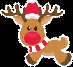 Cartoon Christmas Reindeer Sticker