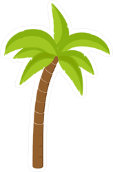 Cartoon Coconut Palm Tree Sticker