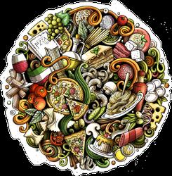 Cartoon Collage of Food Sticker