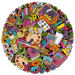 Cartoon Collection Of Art Items Colorful Illustration Sticker