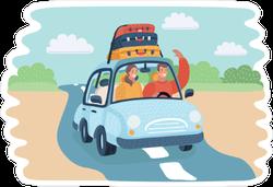 Cartoon Countryside Traveling Sticker