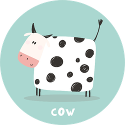 Cartoon Cow Lettering On Blue Sticker