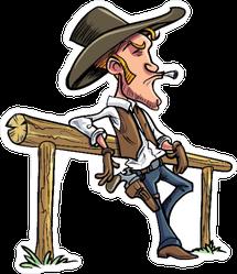 Cartoon Cowboy Leaning on Fence Sticker