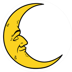Cartoon Crescent Moon With Face Sticker