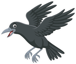 Cartoon Crow Flying Isolated On White Sticker