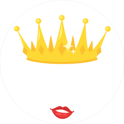 Cartoon Crown and Lips Circle Sticker