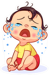 Cartoon Crying Baby Sticker