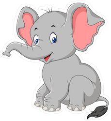 Cartoon Cute Baby Elephant Sitting Sticker