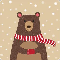 Cartoon Cute Bear Wearing Red Scarf Sticker