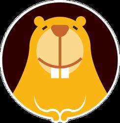 Cartoon Cute Little Beaver Character Smiling Sticker