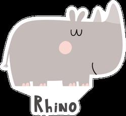 Cartoon Cute Rhino With Text Sticker
