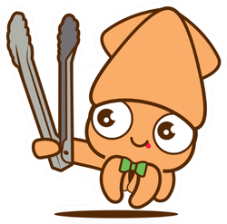 Cartoon Cute Squid With Bowtie Holding A Grill Tongs Sticker