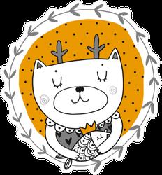Cartoon Deer Cat Sticker