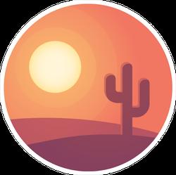Cartoon Desert Sunset Landscape With Cactus Sticker