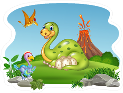 Cartoon Dinosaur Landscape Sticker