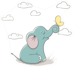 Cartoon Elephant and Butterfly Sticker