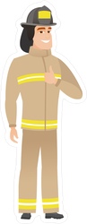 Cartoon Firefighter Giving Thumbs Up Sticker