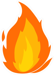 Cartoon Flame Sticker