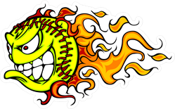 Cartoon Flaming Fast Pitch Angry Softball Sticker