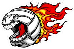 Cartoon Flaming Volleyball Ball With Angry Face Sticker