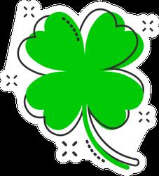 Cartoon Four Leaf Clover Icon Sticker