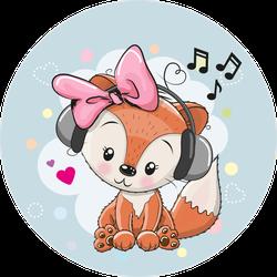 Cartoon Fox Girl With Headphones Sticker
