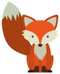 Cartoon Fox Icon Sticker