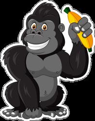 Cartoon Funny Gorilla Holding Banana Sticker