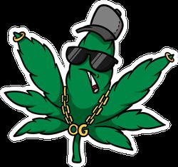 Cartoon Gangster Cannabis Leaf Sticker