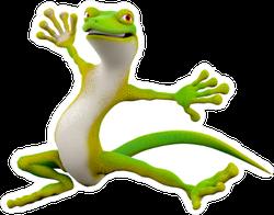 Cartoon Gecko Freestyle Break Dance Jump Sticker