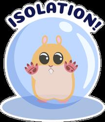 Cartoon Ginger Hamster Locked In Ball, Isolation Sticker