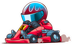 Cartoon Go Kart Racer Sticker