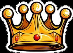 Cartoon Golden Crown with Red Gems Sticker